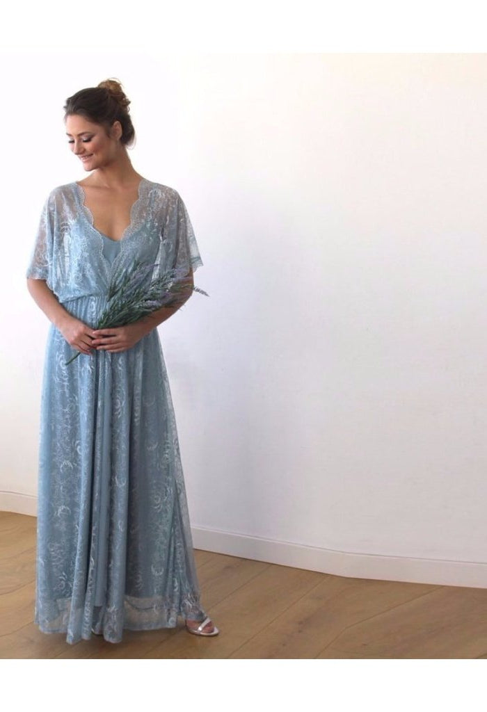 Aqua Blue sheer lace maxi dress 1044