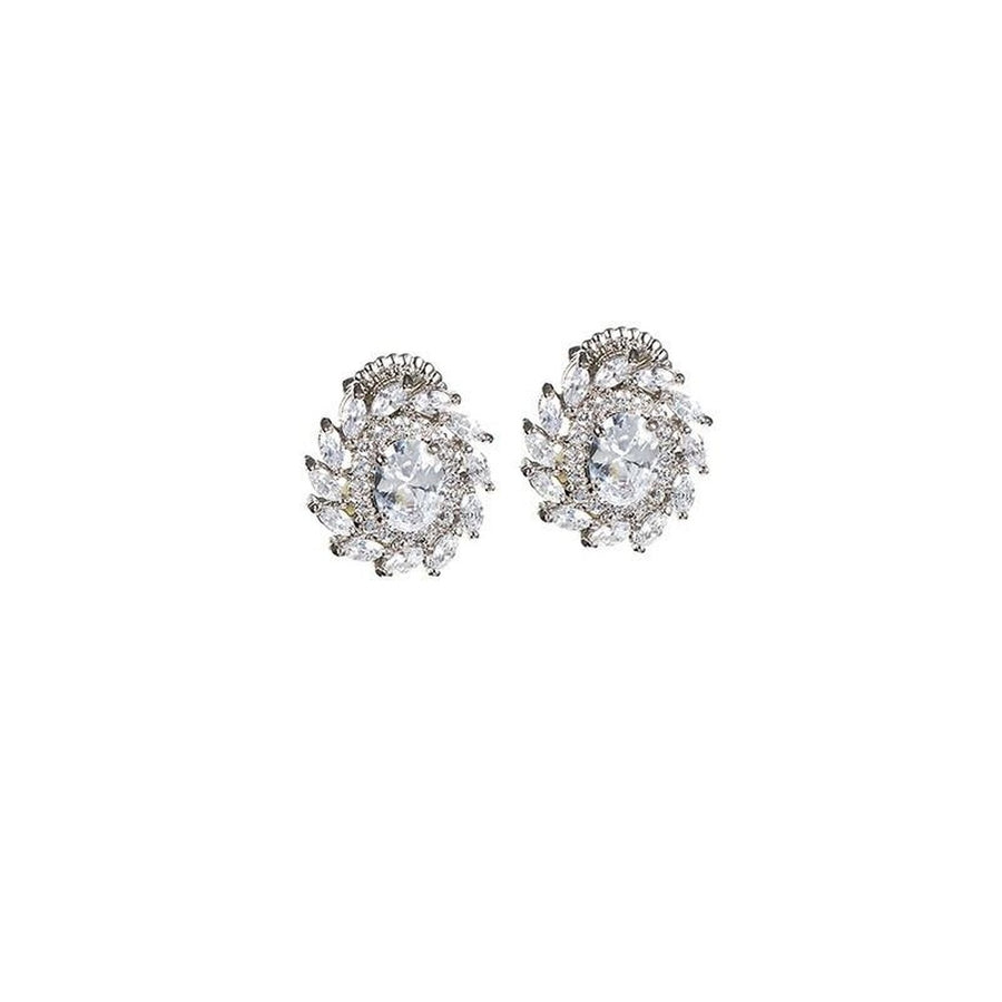 Oval and Marquise Stud Earrings-CZ by Kenneth Jay Lane-Très Fancy