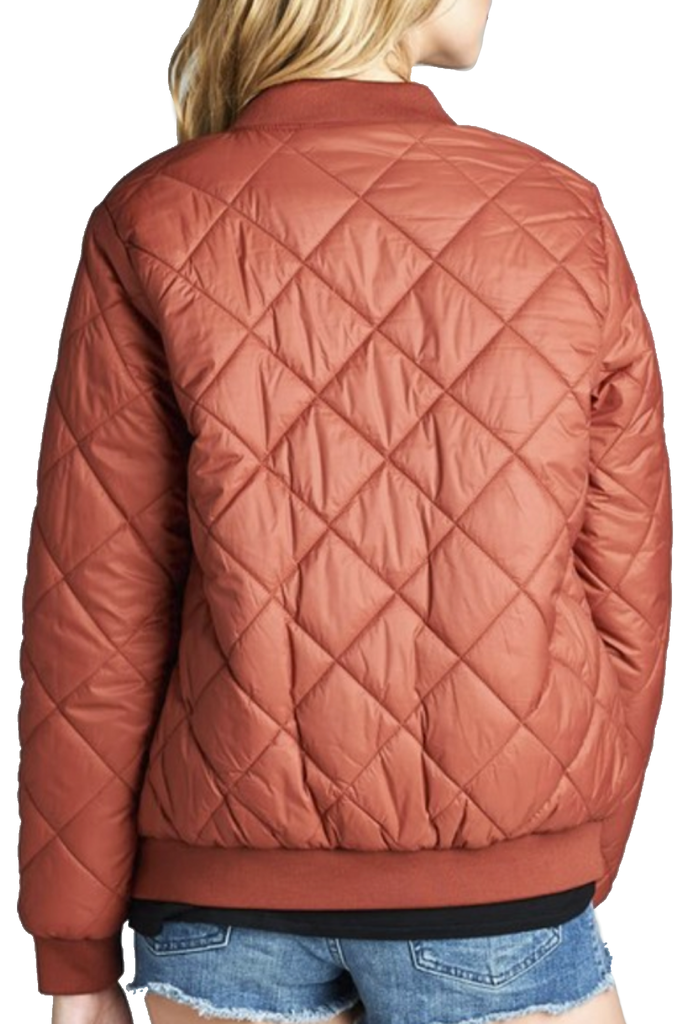 """The Quilted Classic"" Burgundy Padded Bomber Jacket-Women - Apparel - Outerwear - Puffer Coats-A Peace of Mind Jewelry & Boutique-Small-Très Fancy"