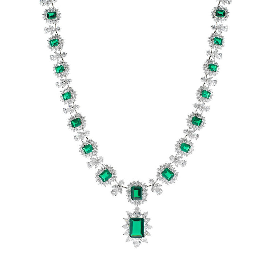 Emerald Statement Necklace-Women - Jewelry - Necklaces-CZ by Kenneth Jay Lane-Très Fancy