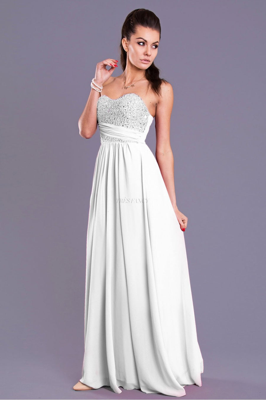 Evening dress 40853 YourNewStyle-Evening Dresses-YourNewStyle-white-L-Très Fancy