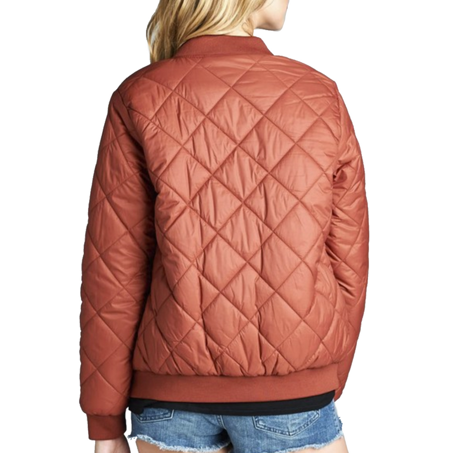"""The Quilted Classic"" Olive Padded Bomber Jacket"