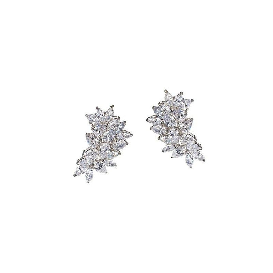Pear and Marquise CZ Cluster Earrings-CZ by Kenneth Jay Lane-Très Fancy