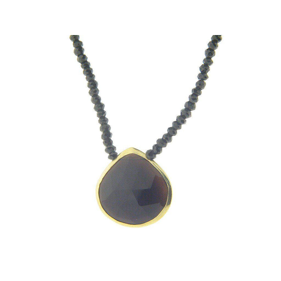 Black Spinel & Black Stone Pendant Sterling Silver Necklace, 16""