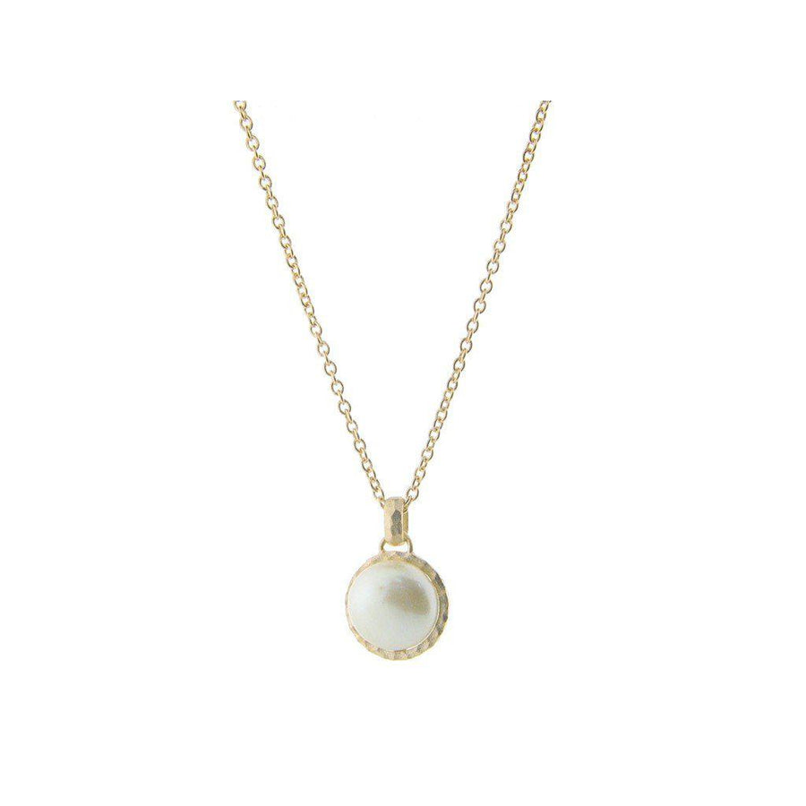 ", Hammered Gold Tone Freshwater Coin Pearl Pendant Necklace, 16"" + 2"" extension"