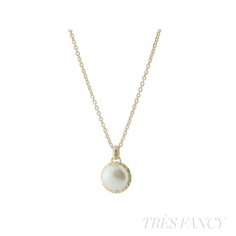 ", Hammered Rhodium Tone Freshwater Coin Pearl Pendant Necklace, 16"" + 2"" extension"