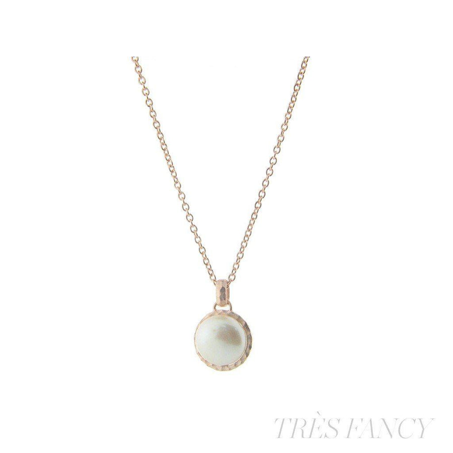", Hammered Rose Gold Tone Freshwater Coin Pearl Pendant Necklace, 16"" + 2"" extension"