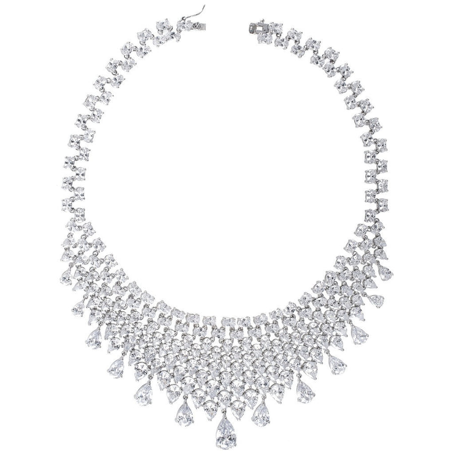 Glamorous Mesh Bib Necklace-Women - Jewelry - Necklaces-CZ by Kenneth Jay Lane-Très Fancy