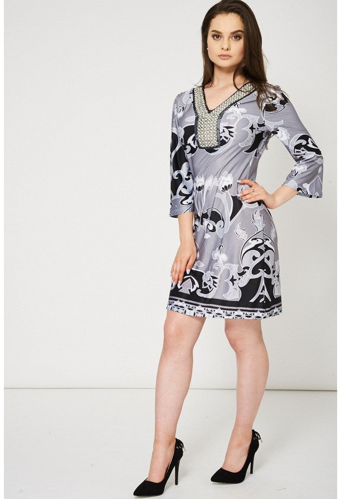 Grey Abstract Pattern Embellished Dress