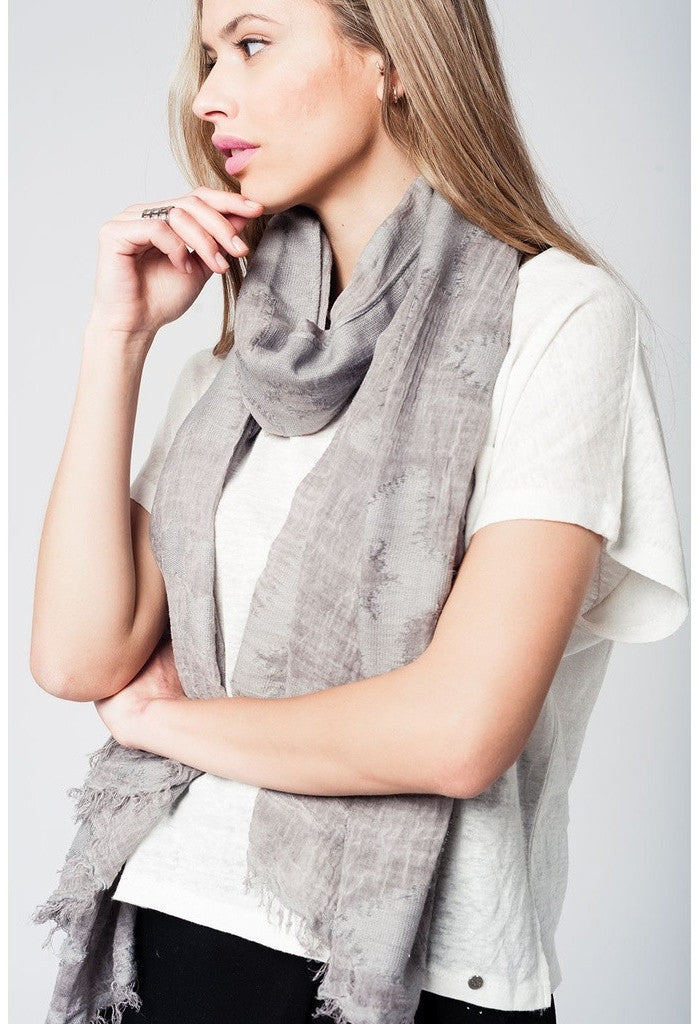 Grey lightweight printed scarf