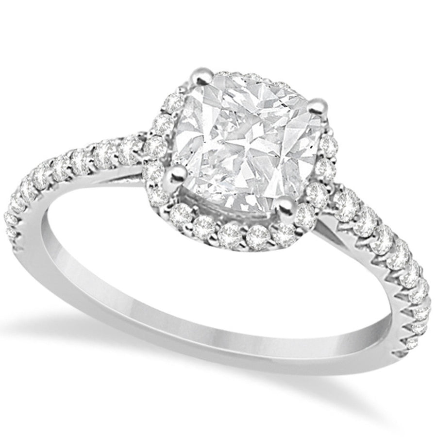 Halo Design Cushion Cut Diamond Engagement Ring 14K White Gold 0.88ct-Women - Jewelry - Rings-Allurez-Très Fancy