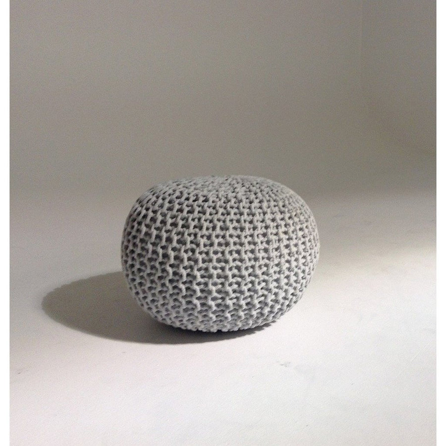 Handmade Round Knitted Pouf | Glacier Gray | 50x35cm | GFURN-Home - Furniture-GFURN Design Furniture-Très Elite