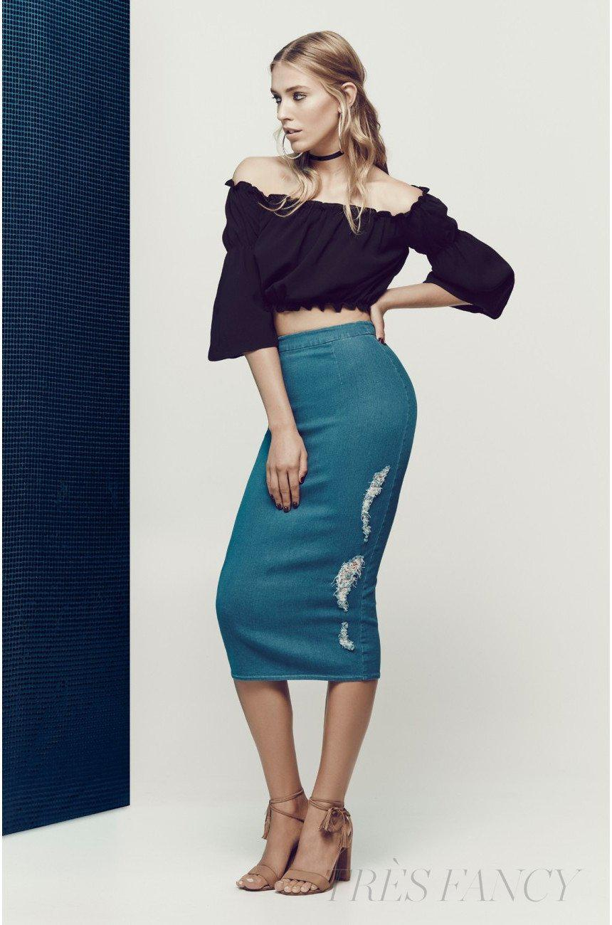 Have a vision denim skirt in Blue Denim-Women - Apparel - Skirts - Cocktail-Matea Designs-Très Fancy
