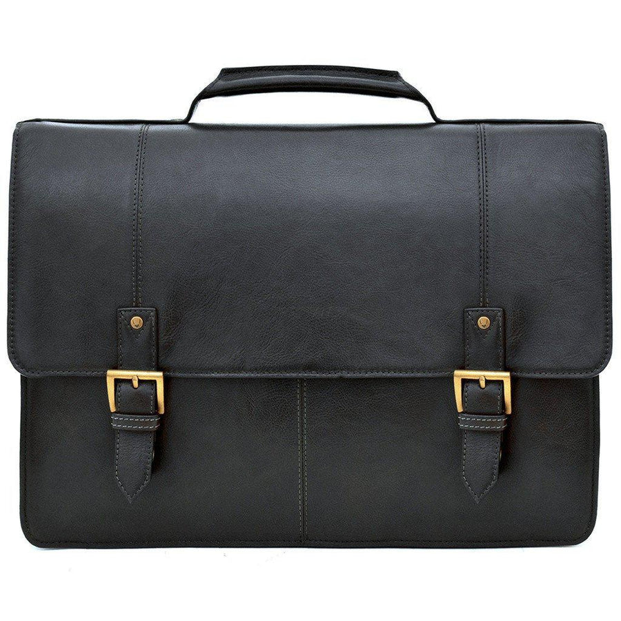 "Hidesign Charles Large Double Gusset Leather 17"" Laptop Compatible Briefcase Work Bag-Men - Bags - Briefcases-Hidesign-TRESFANCY"