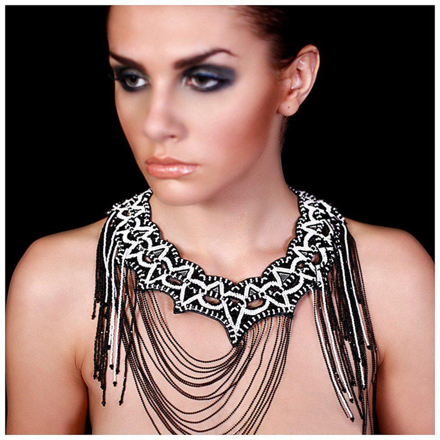 JET ALABASTER WEB NECKPIECE., Women - Jewelry - Necklaces, BEGADA, Très Fancy, , , , , A 3700-, [fashion_accessories_online_shopping_canada]