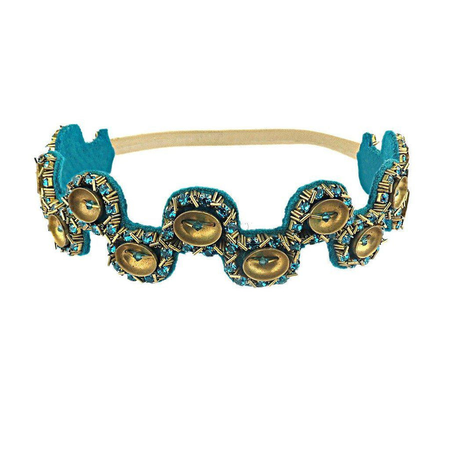 Jewelled Blue Zircon Headband, Women - Accessories - Hair Accessories, BEGADA, Très Fancy, , , , , A_4300-Teal_&_Gold, [fashion_accessories_online_shopping_canada]