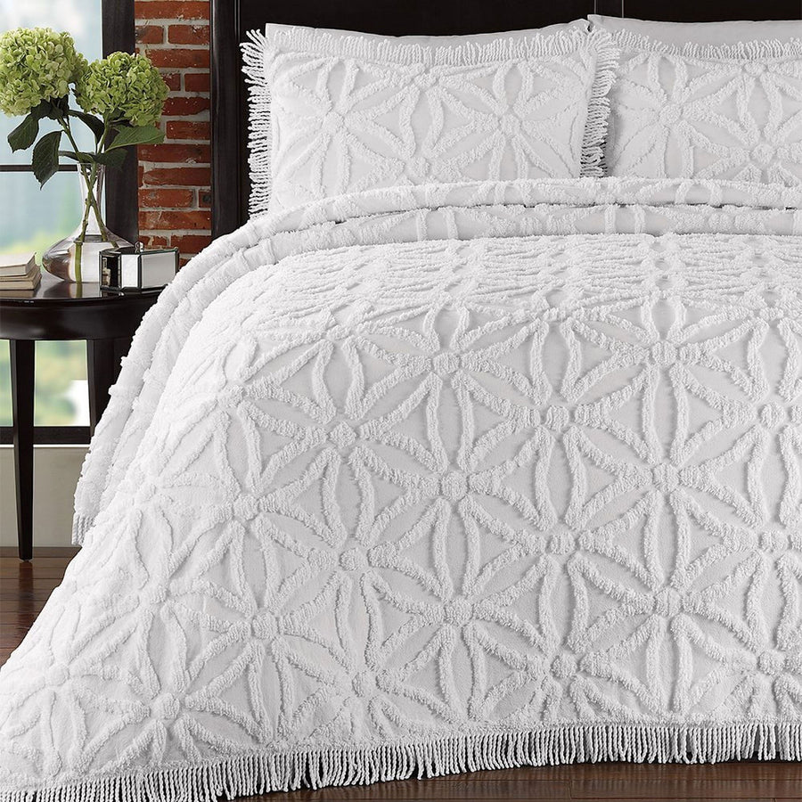 Lamont Home Arianna Chenille White Full Bedspread Set-Home - Bedding - Bedspread Sets-Lamont Home-Très Elite