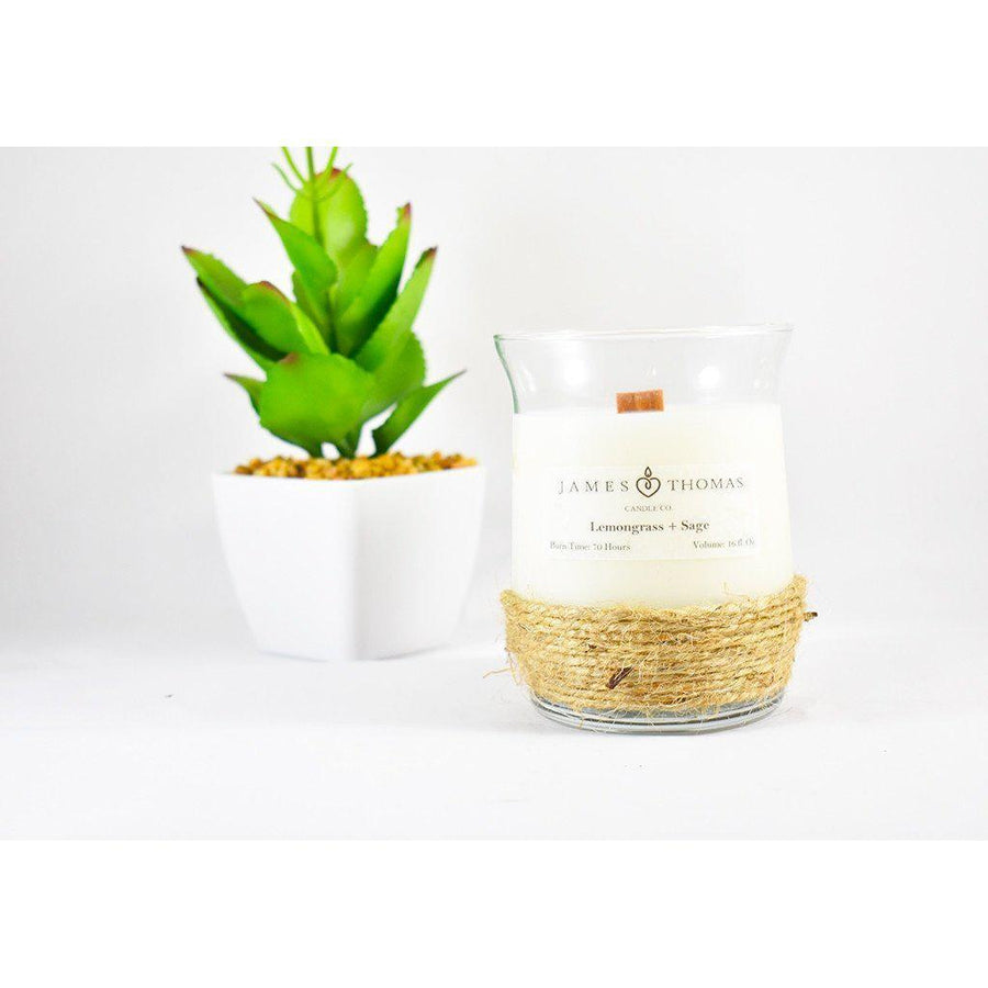 Lemongrass + Sage Wooden Wick Candle-Home - Candles-James Thomas Candle Co-Très Elite