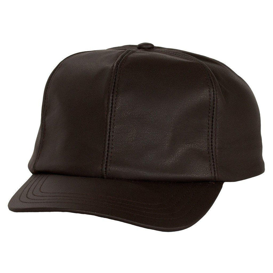 Levine Fitted Leather Baseball Cap-Men - Accessories - Hats-Levine Hat Company-BROWN-S-TRESFANCY