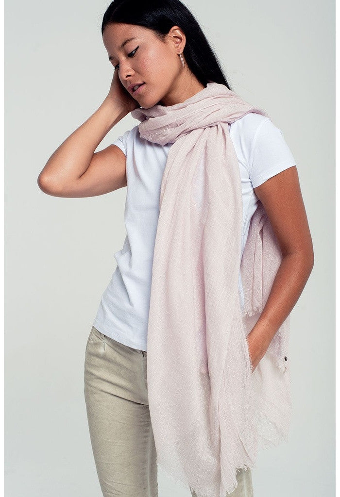 Lightweight polka dot scarf in pink