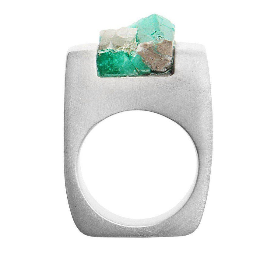 PASIONAE-Made with Emerald stone and Silver, unisex Ring-Unisex - Jewelry - Rings-Très Fancy - Duty Free Canada, Worldwide shipping