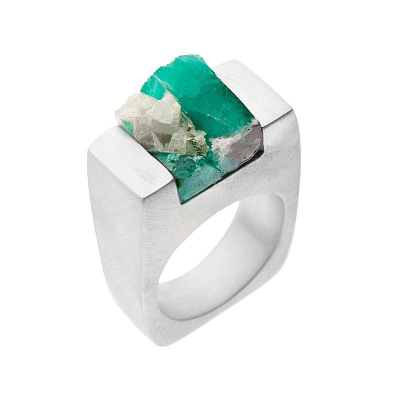 Made with Emerald stone and Silver, unisex Ring-Unisex - Jewelry - Rings-PASIONAE-TRESFANCY