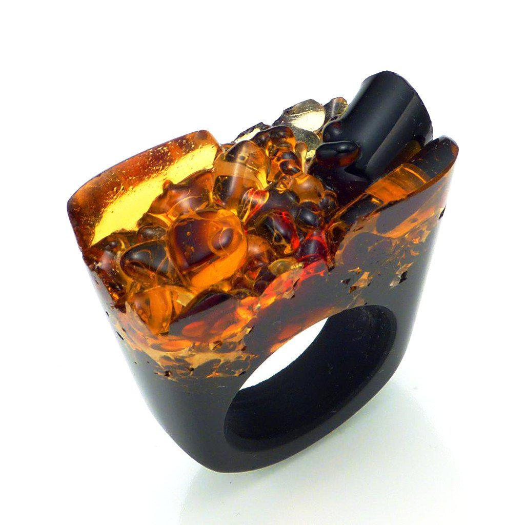 Made with Murano, unisex Ring - Cholera-Women - Jewelry - Rings-PASIONAE-6-Orange-Murano Glass-TRESFANCY