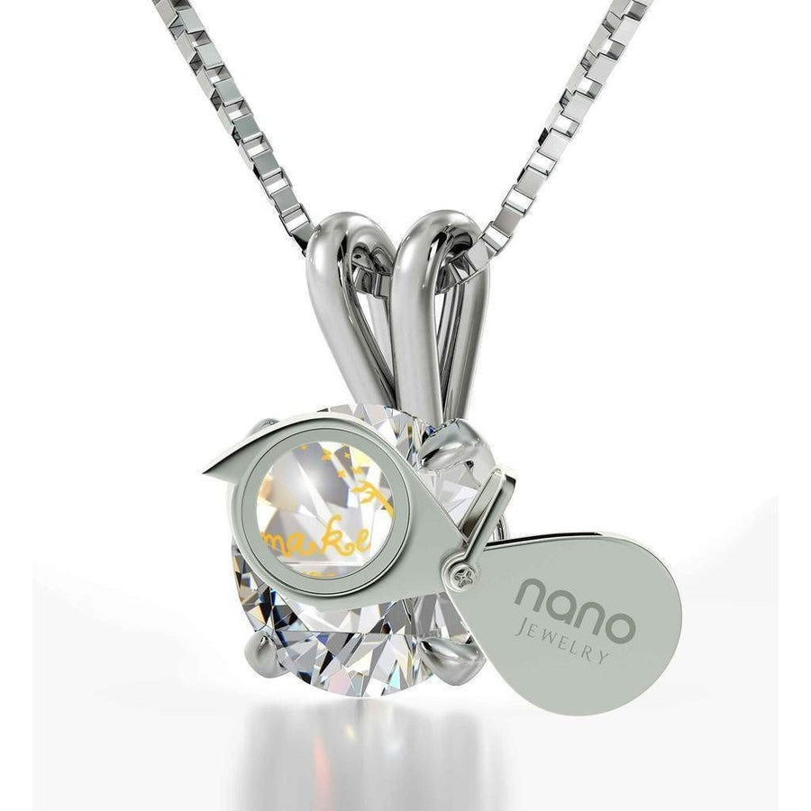 """Make Your Wish"", 14k White Gold Necklace, Swarovski"