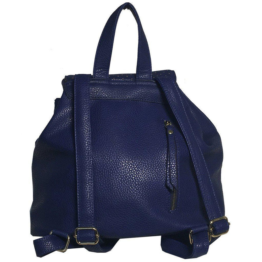 Mechaly-Mechaly Women's Jamie Blue Vegan Leather Backpack-Women - Bags - Backpacks-Très Fancy - Duty Free Canada, Worldwide shipping