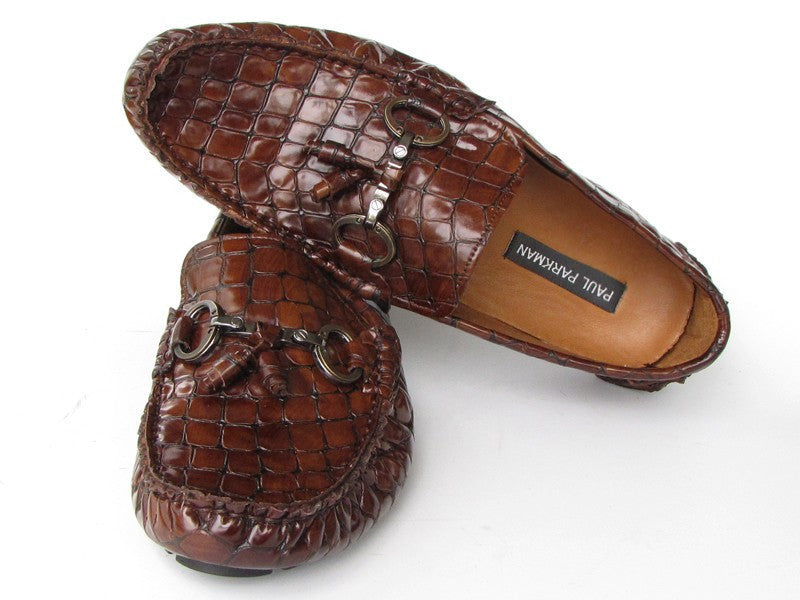 Moccasin Brown Crocodale Embossed Calfskin Upper