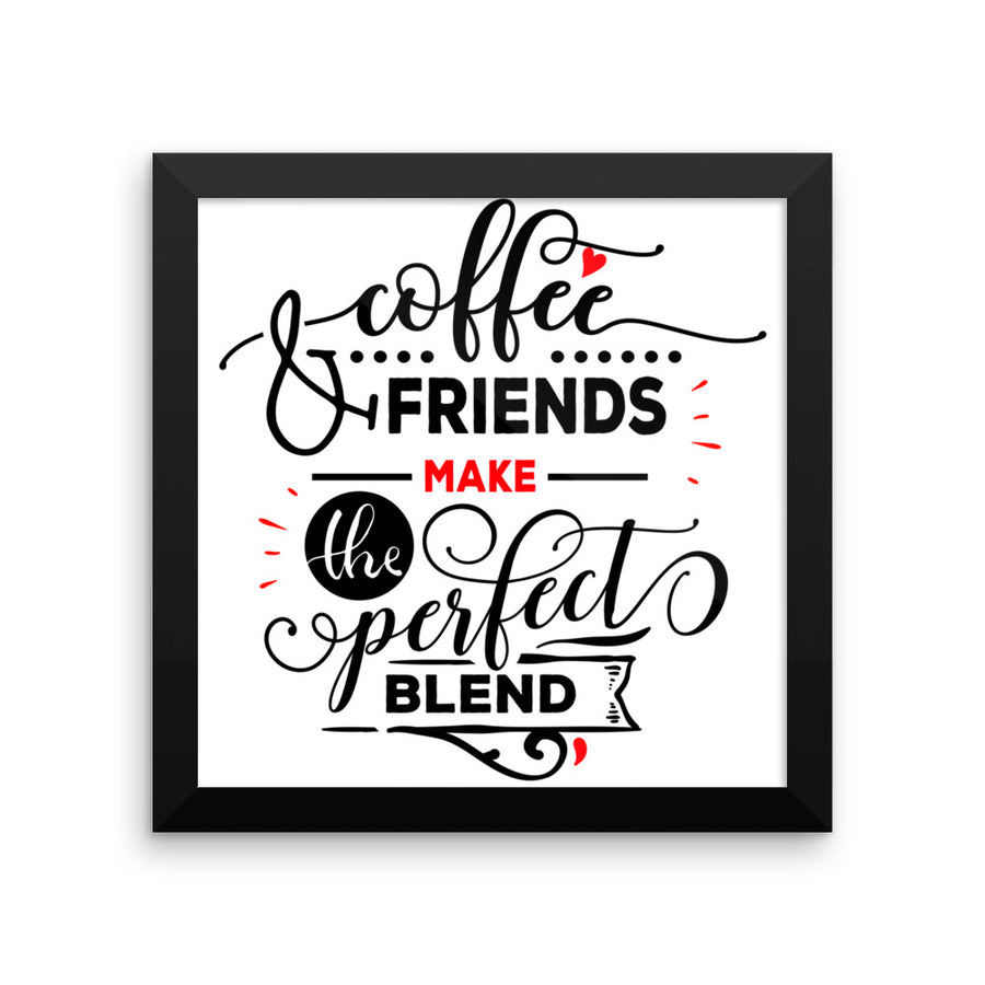 """ Coffee and Friends"" Black Framed Premium Luster Print/ Wall Arts/ Posters-Home decor - Wall Arts - Posters-Très Fancy-8×10-Black frame-wooden-Très Fancy"