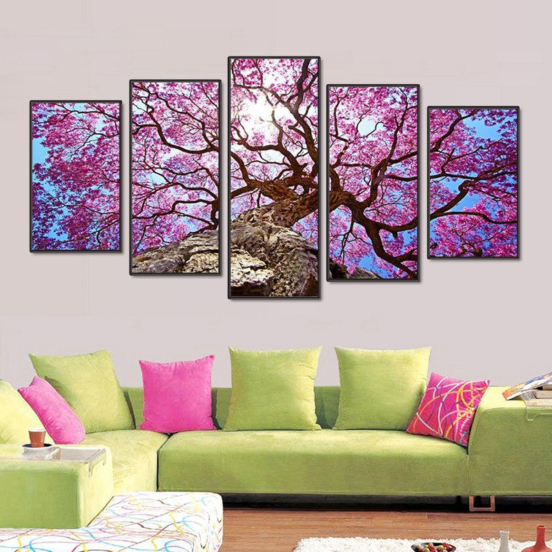 Modern Home Deco Poster Wall Art 5pcs Trees Paint Modular Framed Canvas-Home - Decor - Posters & Prints-Très Fancy-SIZE 1 - NO FRAME-No Frame-Très Fancy