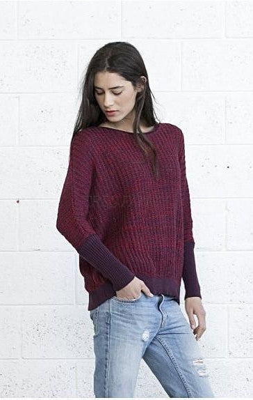 Multi colored sweater - Red Purple.-Women - Apparel - Sweaters - Scoop Neck-Naftul-Très Fancy