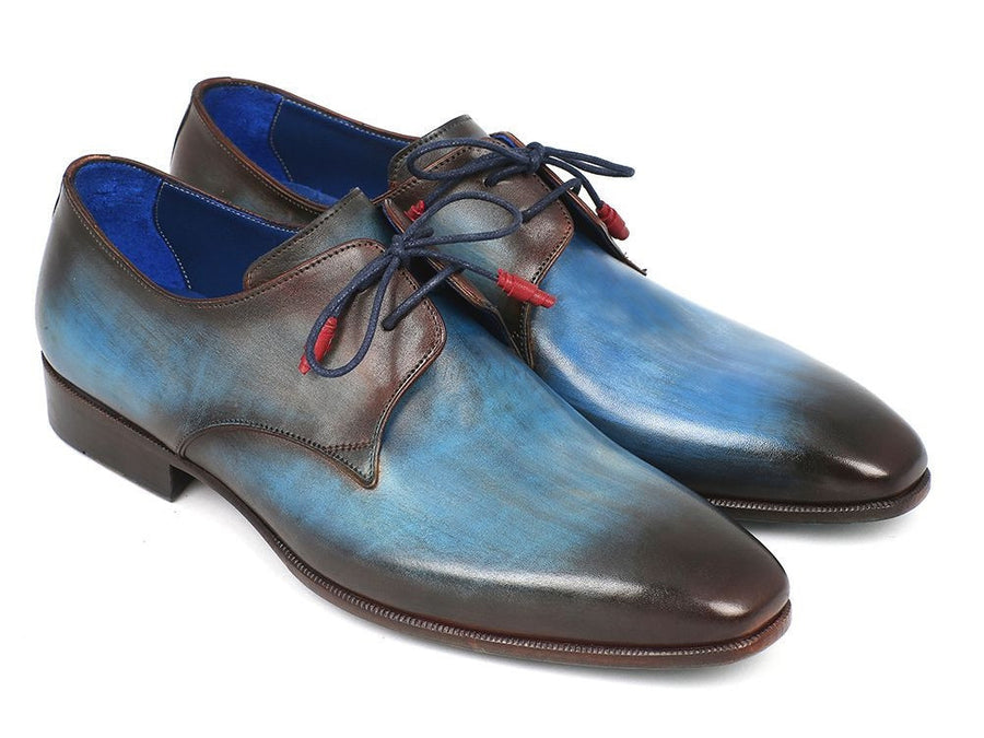 Paul Parkman Blue & Brown Hand-Painted Derby Shoes (ID#326-BLU)
