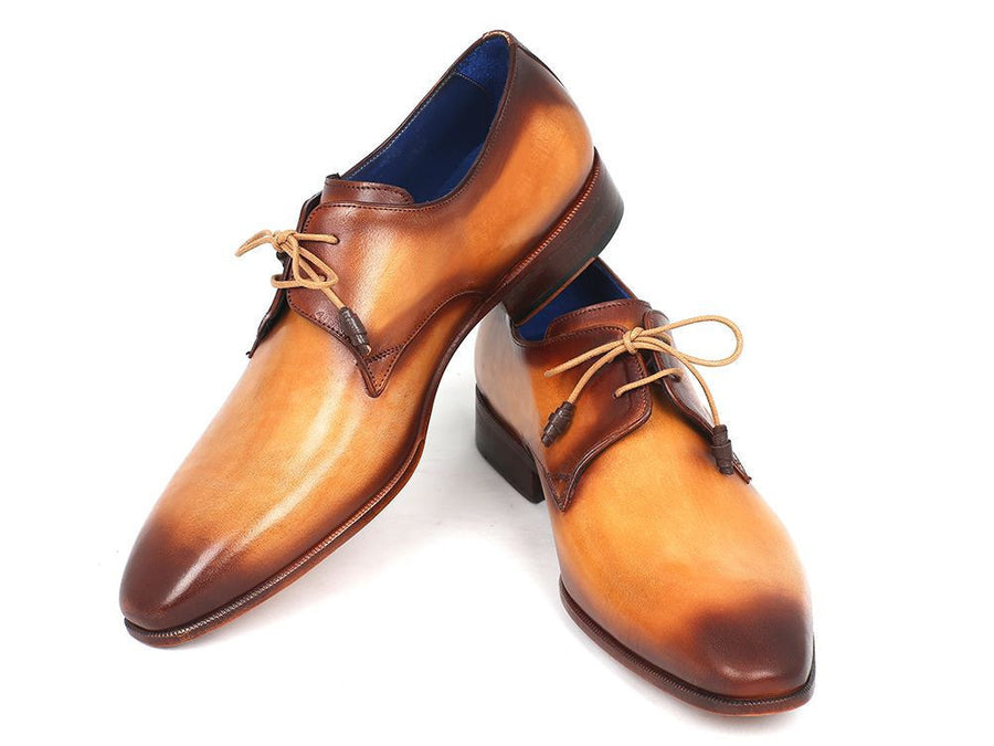 Paul Parkman Brown & Camel Hand-Painted Derby Shoes (ID#326-CML), Men - Footwear - Shoes - Derby, Paul Parkman's Shoes, Très Fancy, '--, Leather, Brown & Camel, , 326-CML, [fashion_accessories_online_shopping_canada]