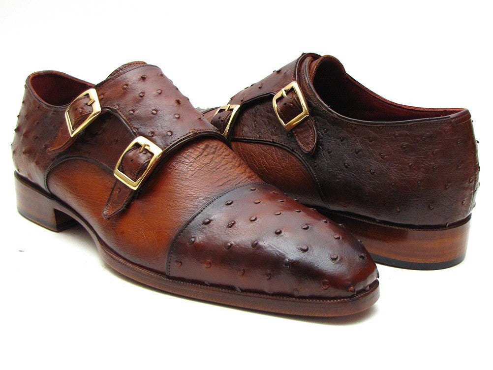 Paul Parkman Brown & Tobacco Genuine Ostrich Double Monkstraps (ID#43K68)-Men - Footwear - Shoes - Monkstraps-Paul Parkman's Shoes-TRESFANCY
