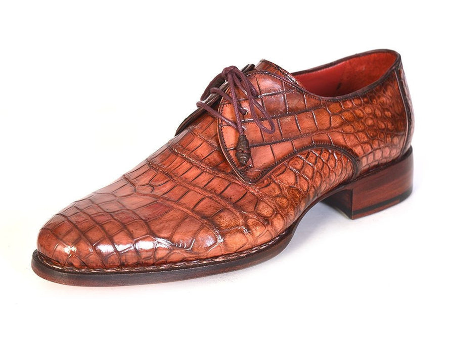 Paul Parkman Genuine Crocodile Goodyear Welted Derby Shoes (ID#44Z87), Men - Footwear - Shoes - Derby, Paul Parkman's Shoes, Très Fancy, '--, Genuine Crocodile, Brown, , 44Z87, [fashion_accessories_online_shopping_canada]