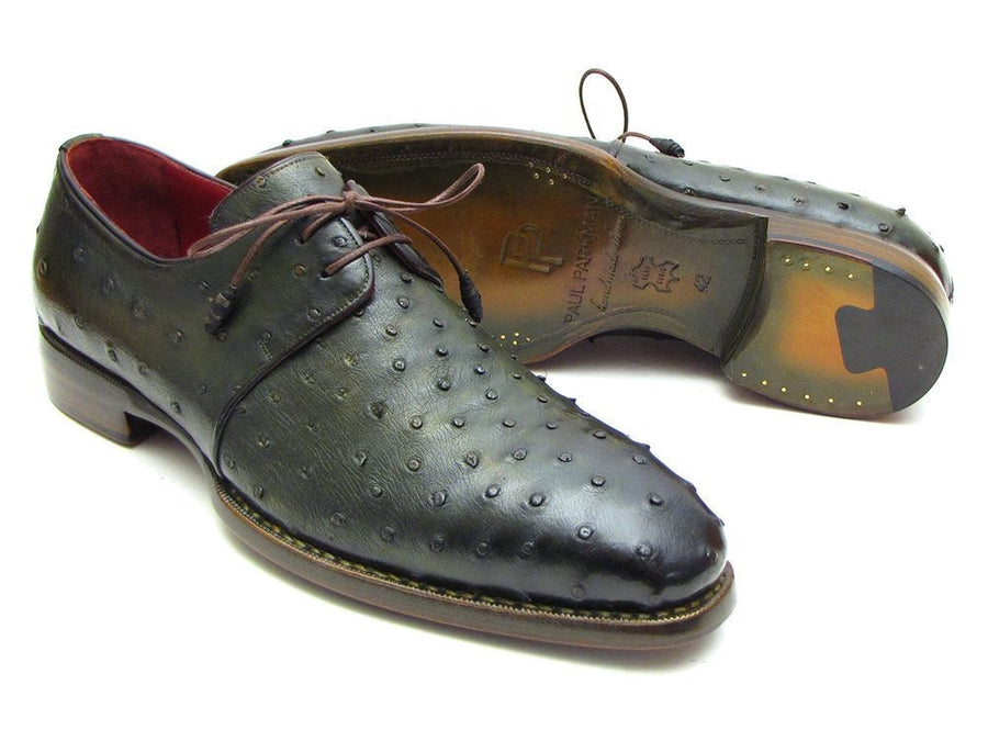 Paul Parkman Goodyear Welted Green Genuine Ostrich Derby Shoes (ID#31VL74), Men - Footwear - Shoes - Derby, Paul Parkman's Shoes, Très Fancy, '--, Genuine Ostrich Leather, Green, , 31VL74, [fashion_accessories_online_shopping_canada]