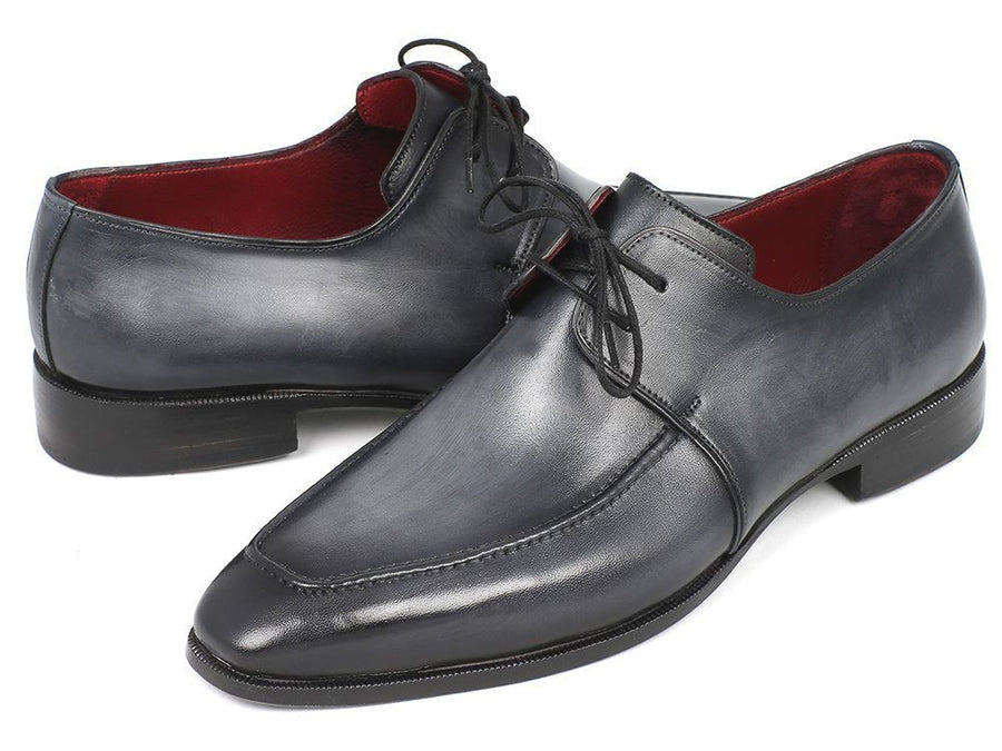 Paul Parkman Gray & Black Apron Derby Shoes For Men (ID#13SX51), Men - Footwear - Shoes - Derby, Paul Parkman's Shoes, Très Fancy, '--, Genuine Leather, Gray & Black, , 13SX51, [fashion_accessories_online_shopping_canada]