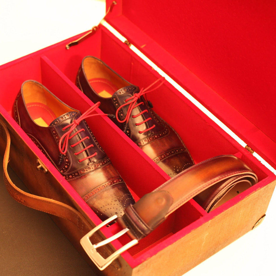 Paul Parkman Handcrafted Leather Shoe Case, Bordeaux-Men - Footwear - Accessories - Shoes Cases-Paul Parkman-TRESFANCY