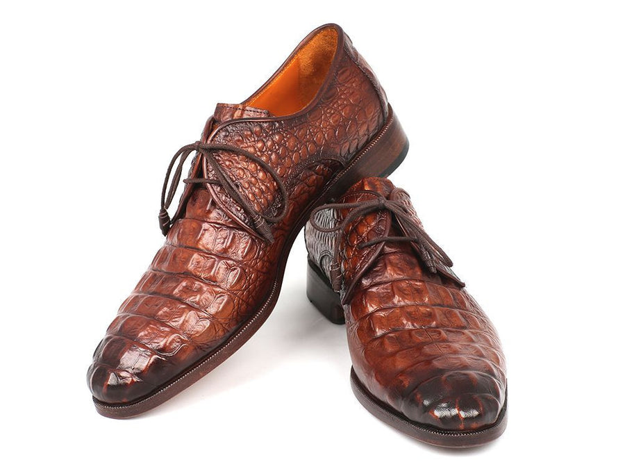 Paul Parkman Light Brown Crocodile Embossed Calfskin Derby Shoes (ID#1438TAB), Men - Footwear - Shoes - Derby, Paul Parkman's Shoes, Très Fancy, '--, Crocodile Embossed Calfskin, Light Brown, , 1438TAB, [fashion_accessories_online_shopping_canada]