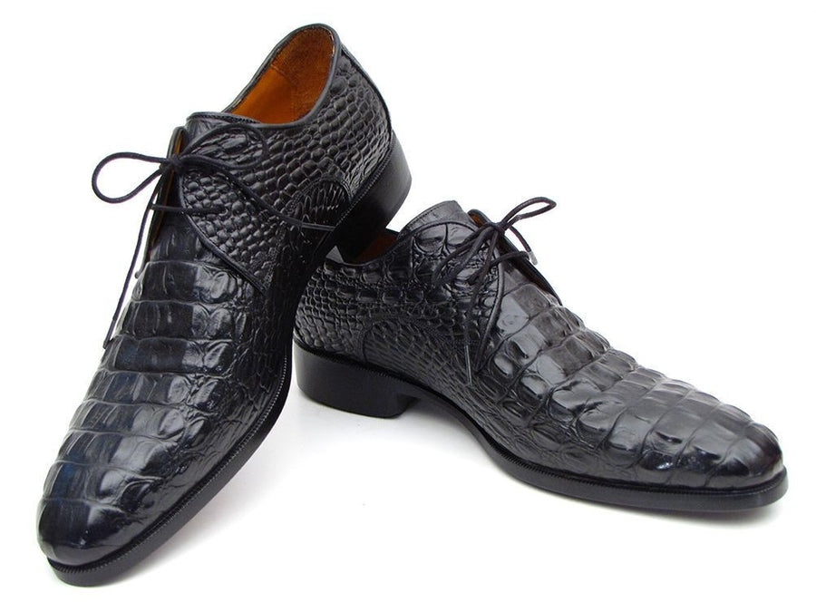 Paul Parkman Mens Black Crocodile Embossed Calfskin Derby Shoes (ID#1438BLK), Men - Footwear - Shoes - Derby, Paul Parkman's Shoes, Très Fancy, '--, Crocodile Embossed Calfskin, Black, , 1438BLK, [fashion_accessories_online_shopping_canada]