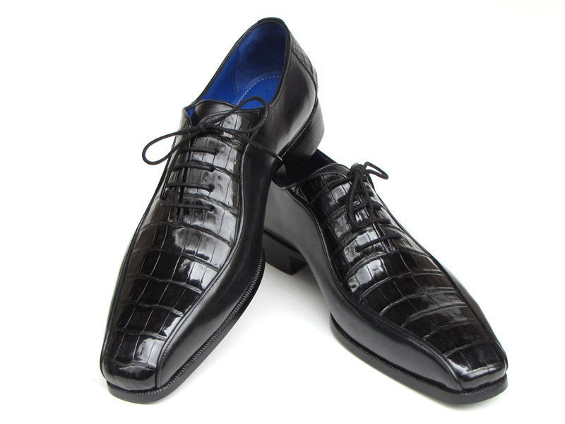 Paul Parkman Mens Black Genuine Crocodile & Calfskin Oxford Shoes (ID#048-BLK)-Men - Footwear - Shoes - Oxfords-Paul Parkman's Shoes-'-Crocodile & Calfskin-Black-TRESFANCY