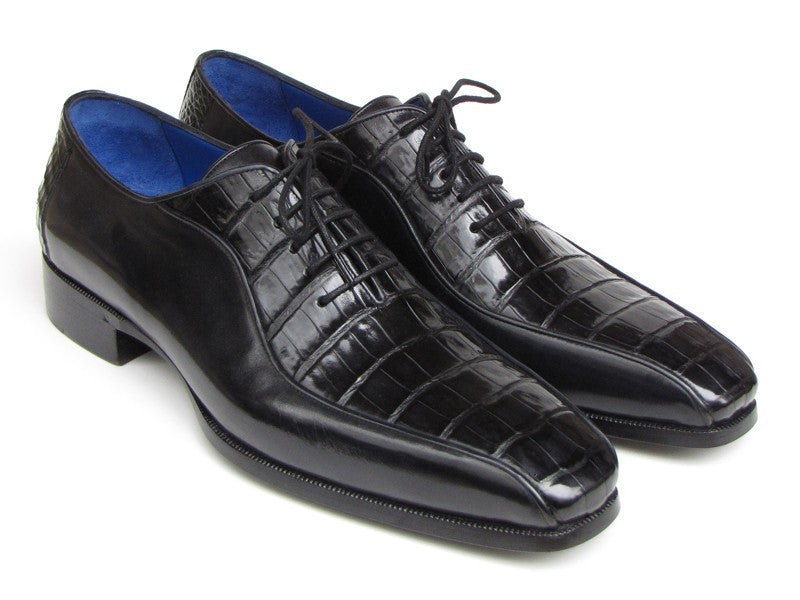 Paul Parkman Mens Black Genuine Crocodile & Calfskin Oxford Shoes (ID#048-BLK)-Men - Footwear - Shoes - Oxfords-Paul Parkman's Shoes-TRESFANCY