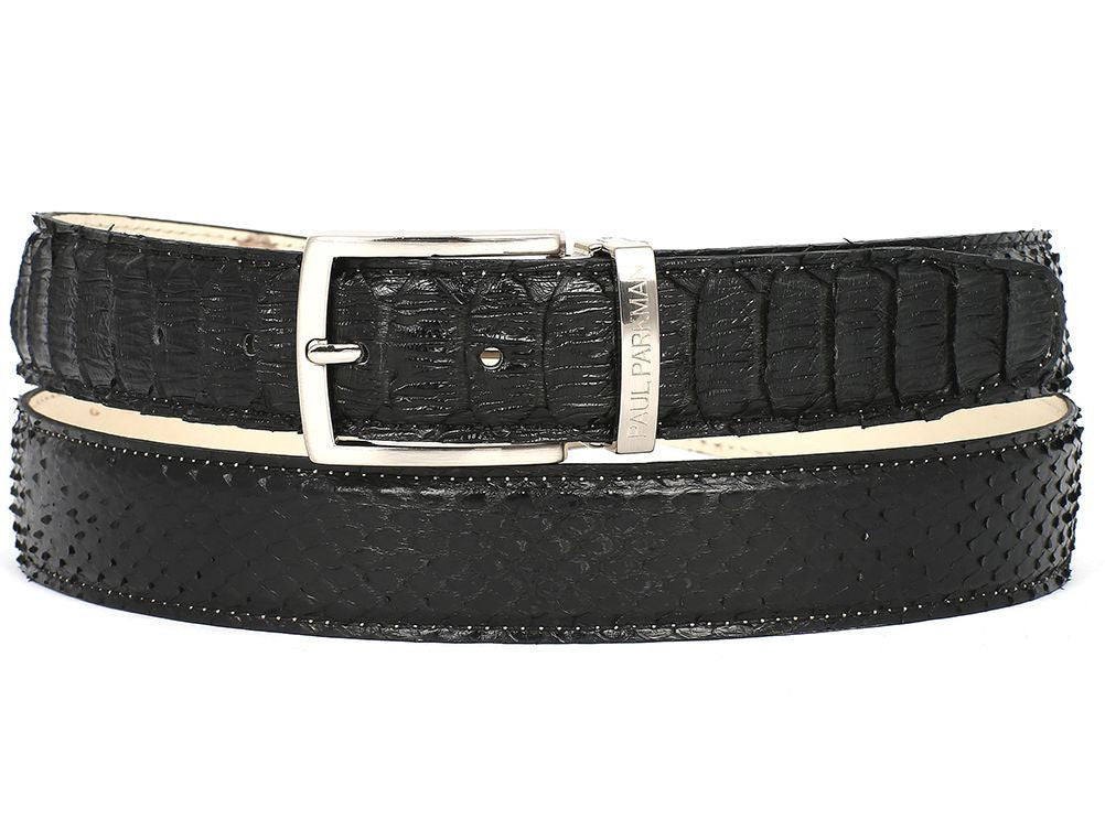 PAUL PARKMAN Mens Black Genuine Python (snakeskin) Belt (ID#B03-BLK)-Men - Accessories - Belts-Paul Parkman's Belts-'-Black-Genuine Python Leather-TRESFANCY