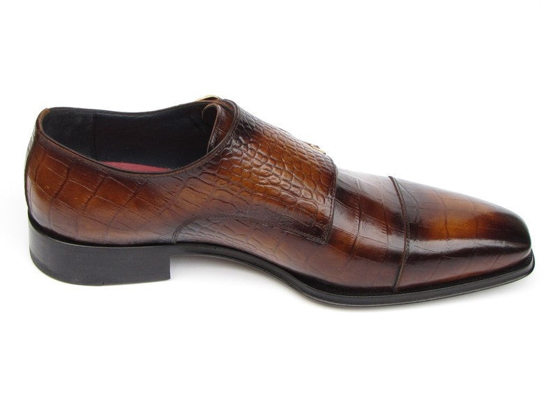 Paul Parkman Mens Brown Crocodile Embossed Calfskin Double Monkstrap (ID#045-APR-BRW)-Men - Footwear - Shoes - Monkstraps-Paul Parkman's Shoes-TRESFANCY