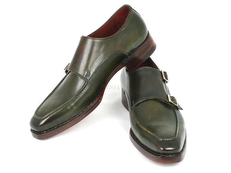 Paul Parkman Men's Double Monkstrap Goodyear Welted Shoes Green (ID#061-GREEN)-Men - Footwear - Shoes - Monkstraps-Paul Parkman's Shoes-TRESFANCY