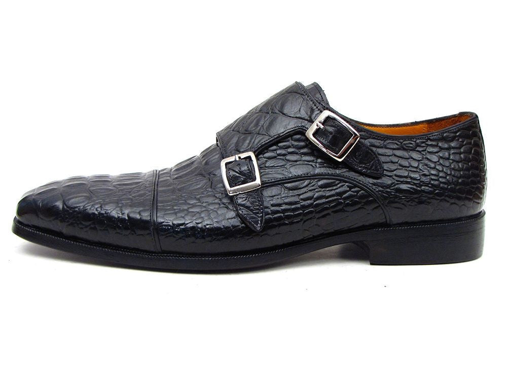 Paul Parkman Men's Double Monkstraps Black Crocodile Embossed Calfskin (ID#045BK41)-Men - Footwear - Shoes - Monkstraps-Paul Parkman's Shoes-TRESFANCY