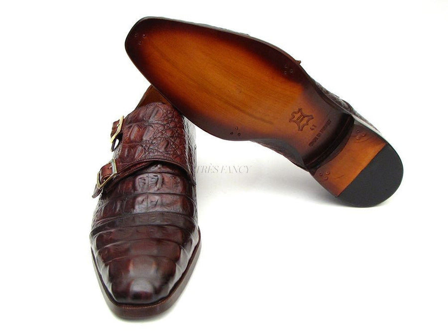 Paul Parkman Men's Double Monkstraps Brown & Bordeaux Crocodile Embossed Calfskin (ID#045FG12)-Men - Footwear - Shoes - Monkstraps-Paul Parkman's Shoes-TRESFANCY