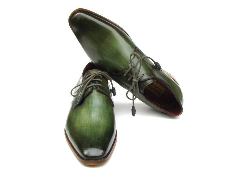 Paul Parkman Men's Green Hand-Painted Derby Shoes Leather Upper and Leather Sole (ID#059-GREEN), Men - Footwear - Shoes - Derby, Paul Parkman's Shoes, Très Fancy, '--, Calfskin, Green, , 059-GREEN), [fashion_accessories_online_shopping_canada]
